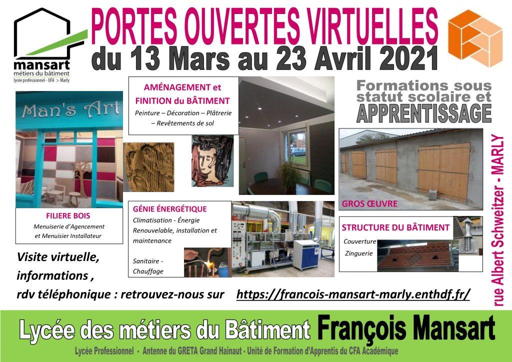 Journées portes ouvertes virtuelles du 13 mars au 23 avril 2021.